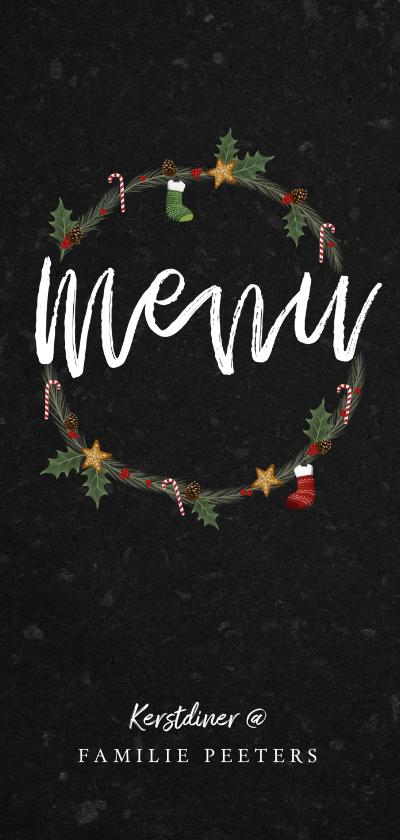 Kerstkaarten - Kerstdiner menukaart stijlvol met kerstillustraties