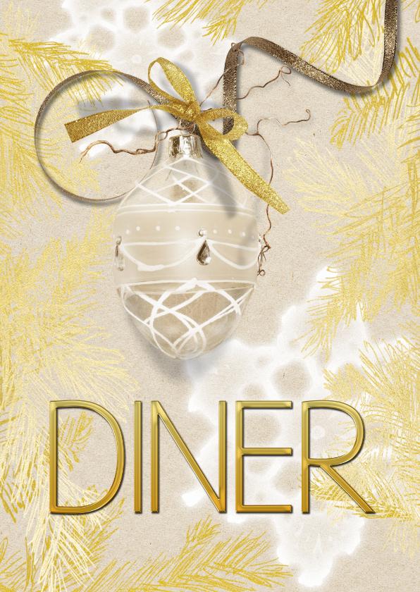 Kerstkaarten - Kerstdiner uitnodiging 2 goudlook