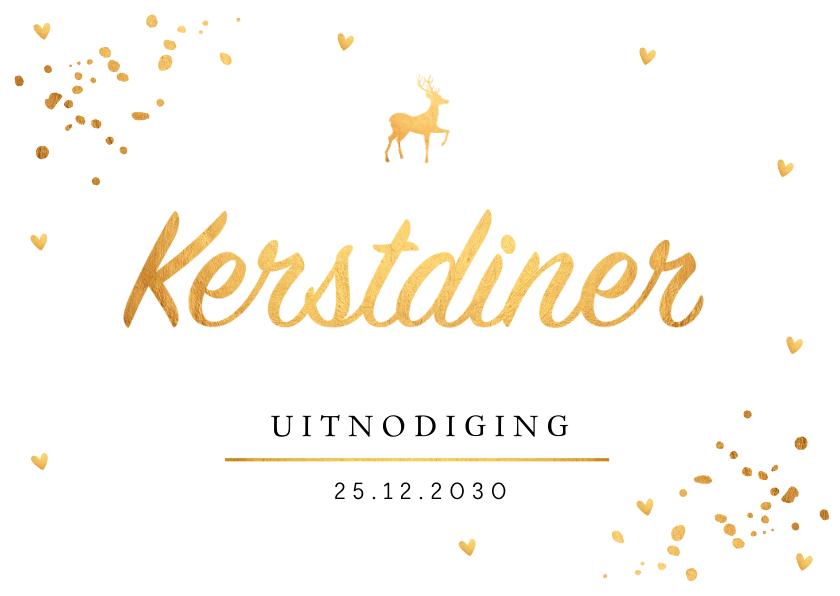 Kerstkaarten - Kerstdiner uitnodiging confetti goud