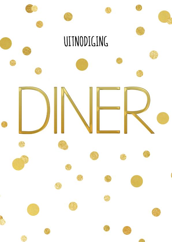Kerstkaarten - Kerstdiner uitnodiging diner en confetti goud