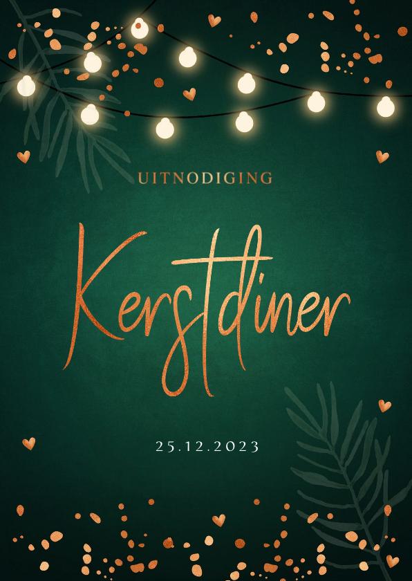 Kerstkaarten - Kerstdiner uitnodiging donkergroen confetti lampjes