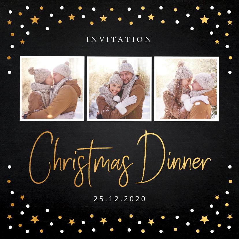 Kerstkaarten - Kerstdiner uitnodiging foto confetti