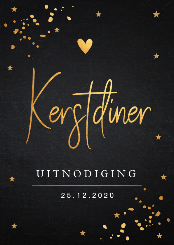 Kerstkaarten - Kerstdiner uitnodiging goud confetti
