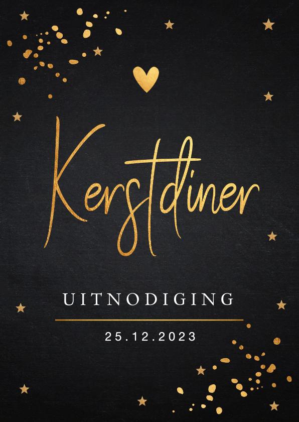 Kerstkaarten - Kerstdiner uitnodiging goudlook confetti
