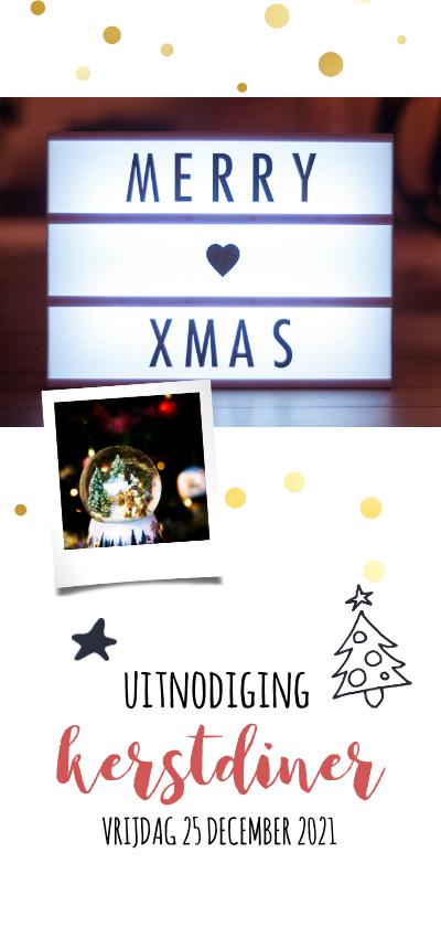Kerstkaarten - Kerstdiner uitnodiging met foto 2020