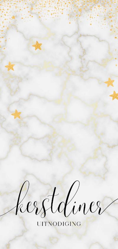 Kerstkaarten - Kerstdiner uitnodiging met marmer en goudlook effecten