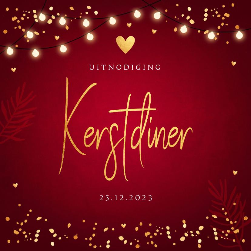 Kerstkaarten - Kerstdiner uitnodiging rood confetti goudlook