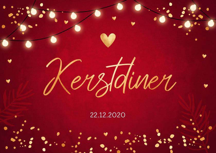 Kerstkaarten - Kerstdiner uitnodiging rood design