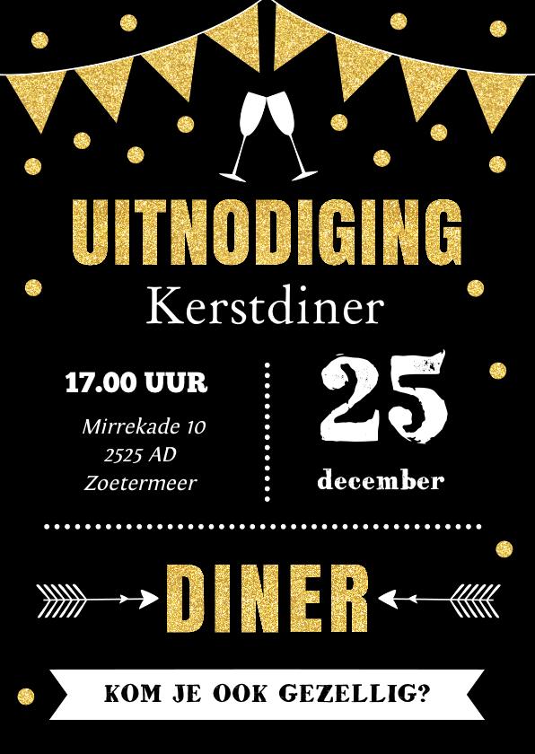 Kerstkaarten - Kerstdiner uitnodiging typografie slinger goud