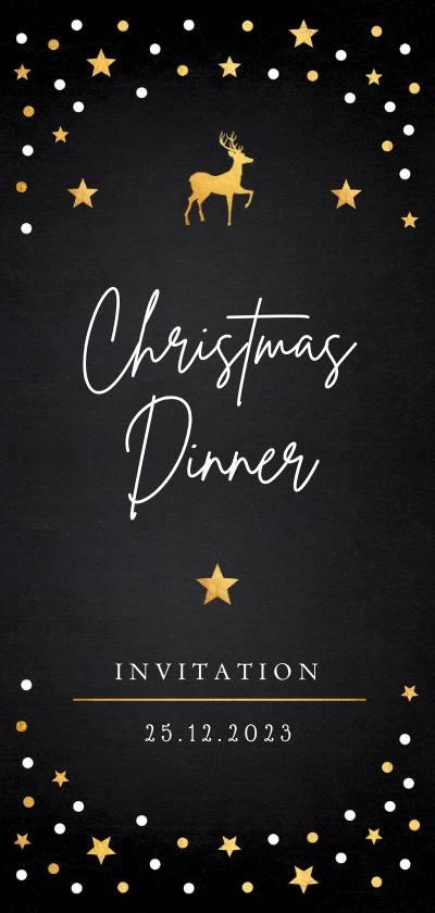 Kerstkaarten - Kerstdiner uitnodiging zwart confetti goudlook