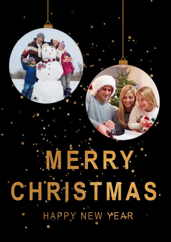 Kerstkaarten - Kerstkaart 2 gouden kerstballen foto's
