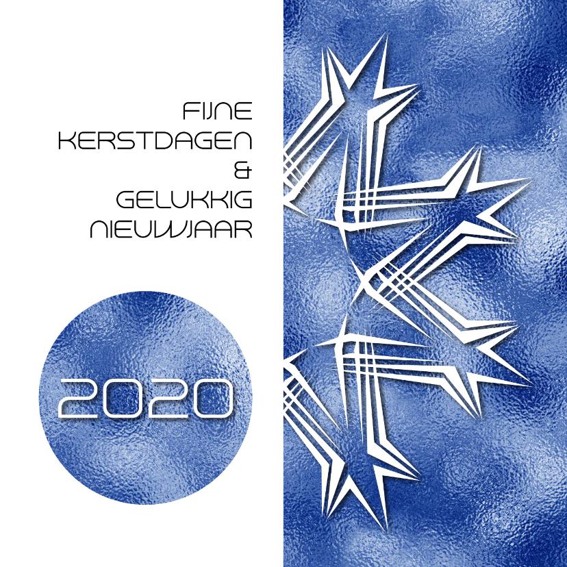 Kerstkaarten - Kerstkaart 2019 grafisch blauw print