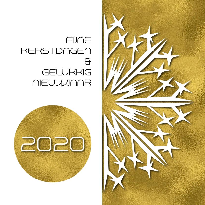 Kerstkaarten - Kerstkaart strak 2019 IJskristal goud