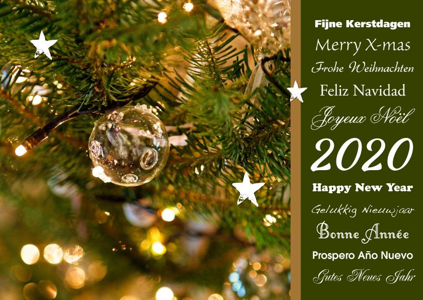 Kerstkaarten - Kerstkaart 2020 diverse talen en detail kerstboom