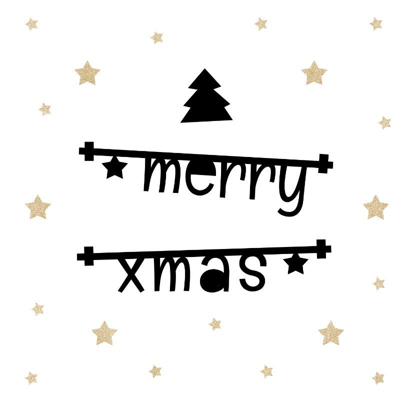 Kerstkaarten - Kerstkaart 2019 met tekstbanners en gouden sterren