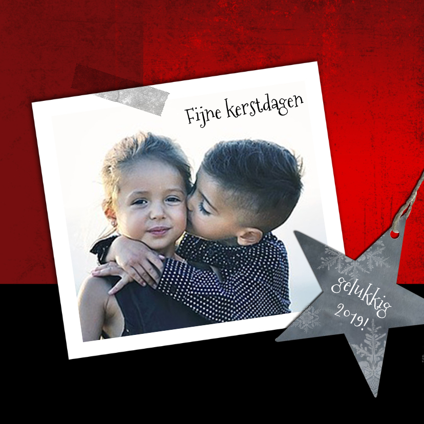 Kerstkaarten - Kerstkaart 2019 rood  foto+ster-IP