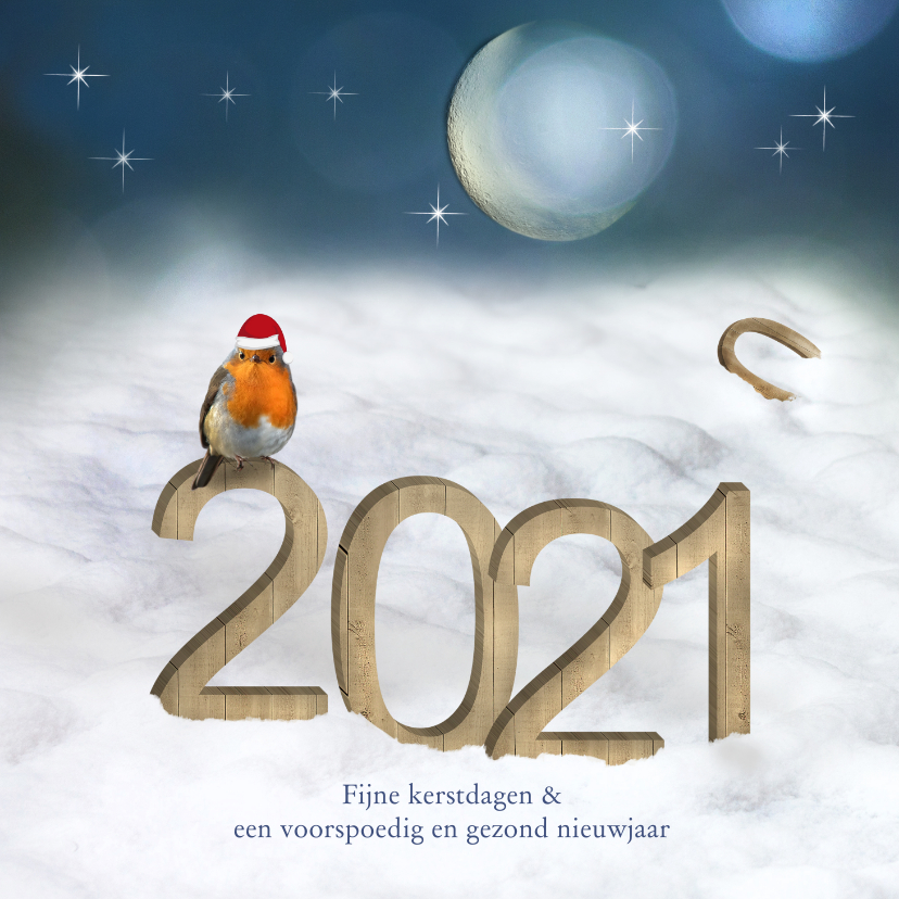 Kerstkaarten - Kerstkaart 2020 houtprint in de sneeuw