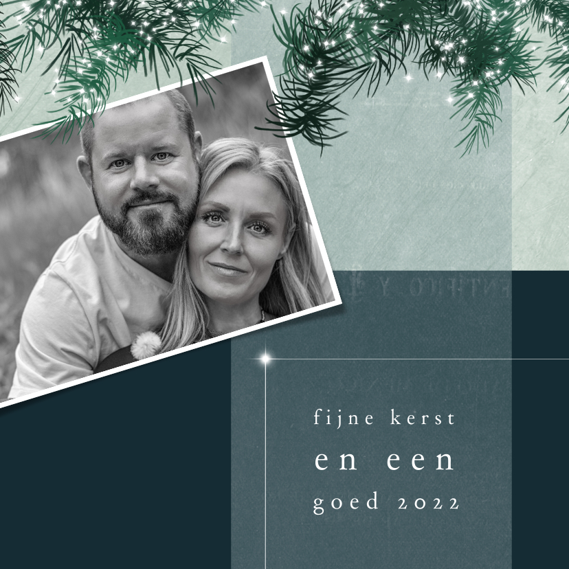 Kerstkaarten - Kerstkaart 2021-2022, kersttakjes met lichtjes en foto