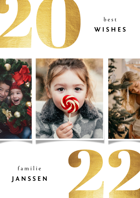 Kerstkaarten - Kerstkaart 2022 best wishes goudlook met 3 foto's