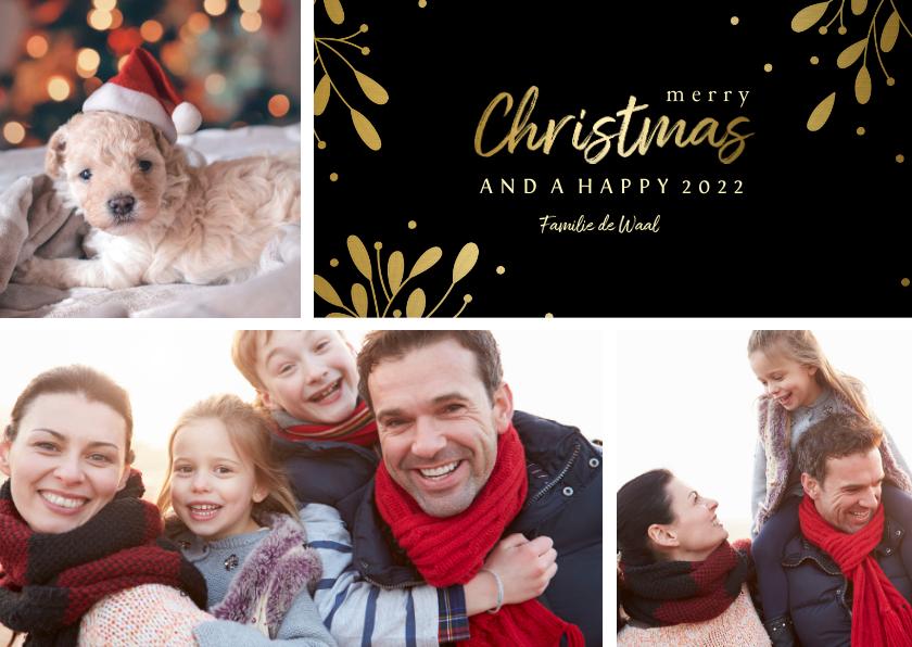 Kerstkaarten - Kerstkaart 3 foto's met tekstvak gouden accenten