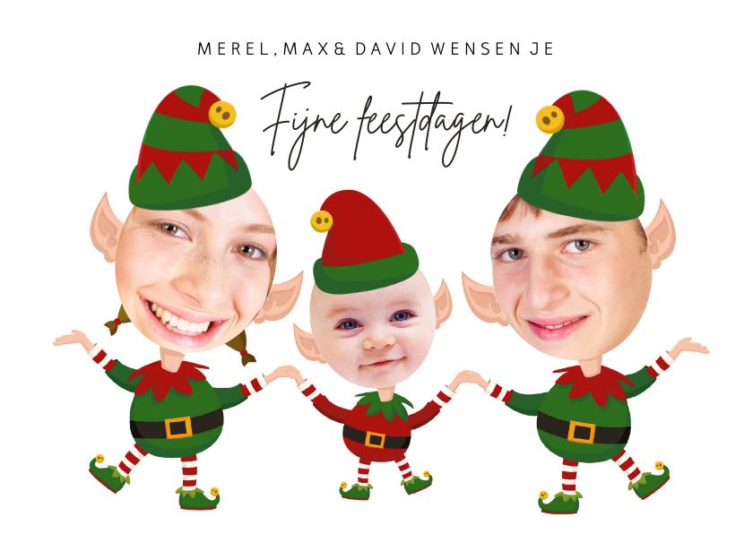 Kerstkaarten - Kerstkaart 3 kerstelfjes eigen foto's