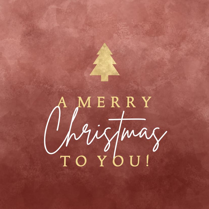 """Kerstkaarten - Kerstkaart """"a merry Christmas to you!"""" met gouden kerstboom"""