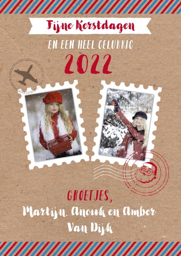Kerstkaarten - Kerstkaart airmail stempels foto's