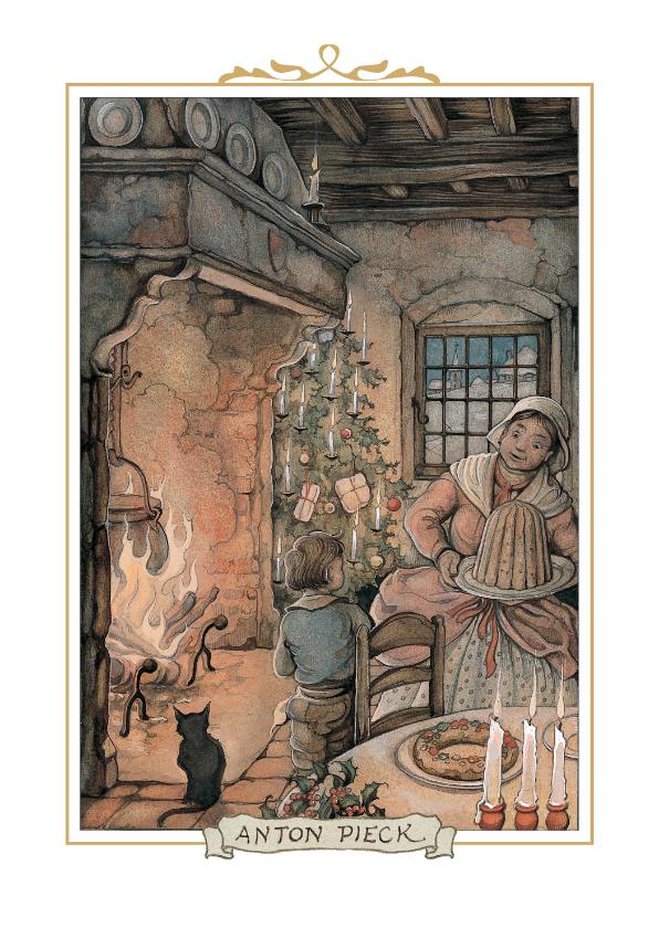 Kerstkaarten - Kerstkaart - Anton Pieck illustratie kerst bij de open haard