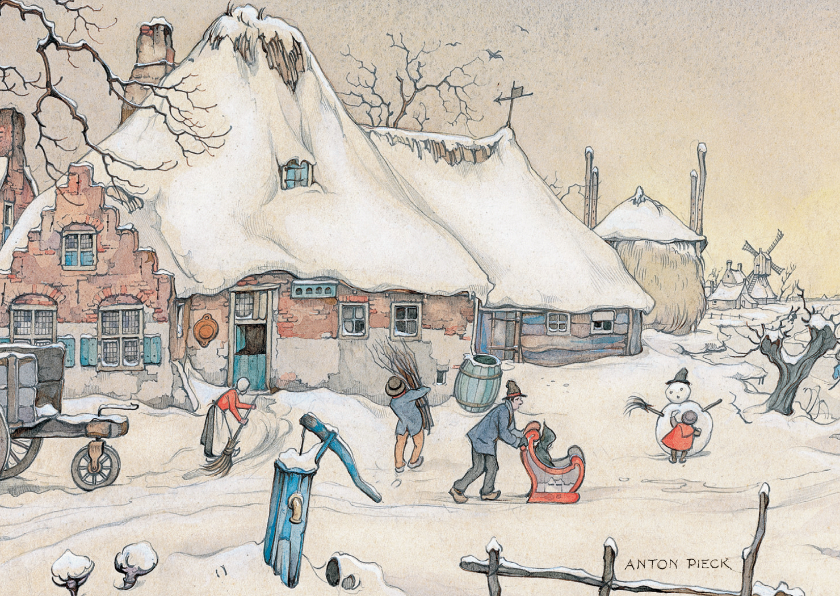 Kerstkaarten - Kerstkaart - Anton Pieck illustratie sneeuwlandschap
