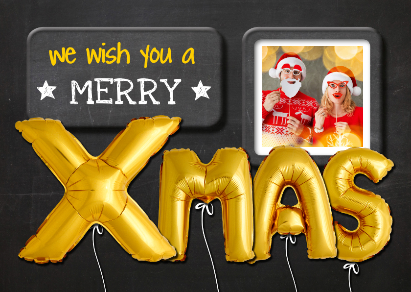 Kerstkaarten - Kerstkaart ballon goud XMAS op krijtbord