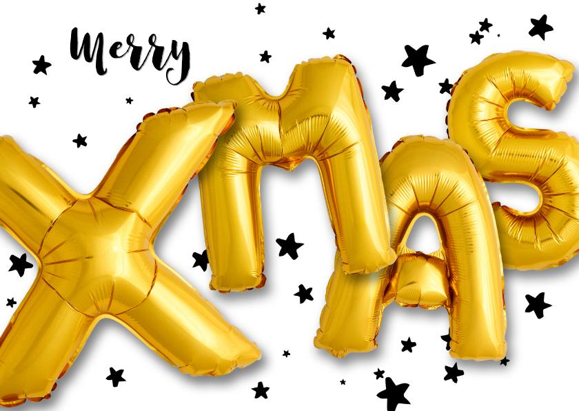 Kerstkaarten - Kerstkaart ballon goud Xmas