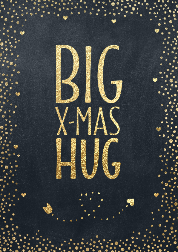 Kerstkaarten - Kerstkaart BIG X-MAS HUG goud krijtbord
