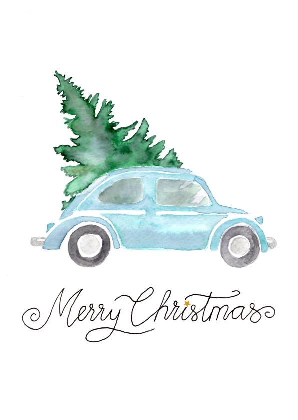 Kerstkaarten - Kerstkaart blauwe kever in aquarel
