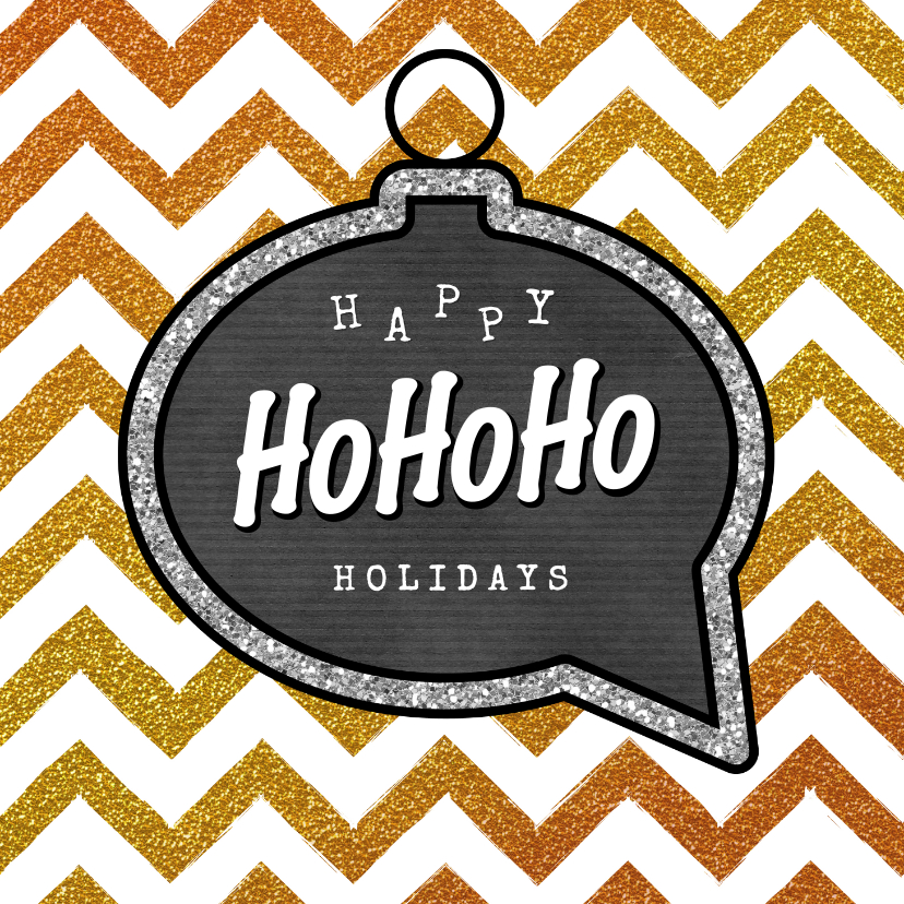Kerstkaarten - Kerstkaart bling bling Happy HoHoHo Holidays