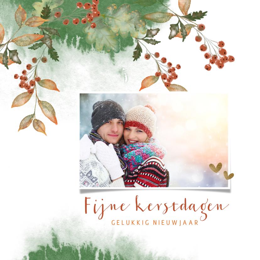 Kerstkaarten - Kerstkaart botanische illustratie met foto