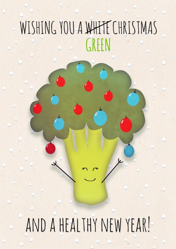 Kerstkaarten - Kerstkaart broccoli staand wishing you a green Christmas