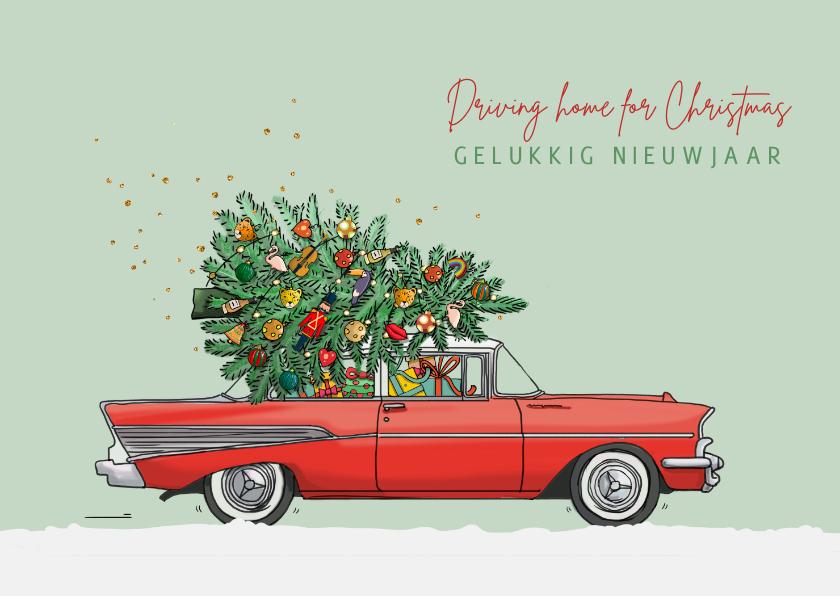 Kerstkaarten - Kerstkaart Chevrolet bell air rood