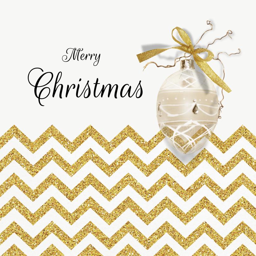 Kerstkaarten - Kerstkaart chevron goud kerstbal met eigen foto binnenzijde