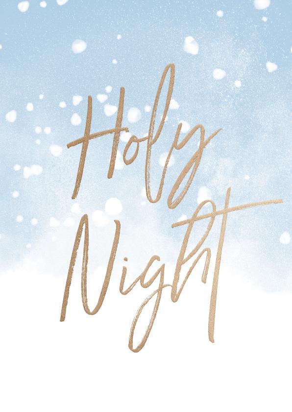 Kerstkaarten - Kerstkaart christelijk Holy Night met waterverf en sneeuw