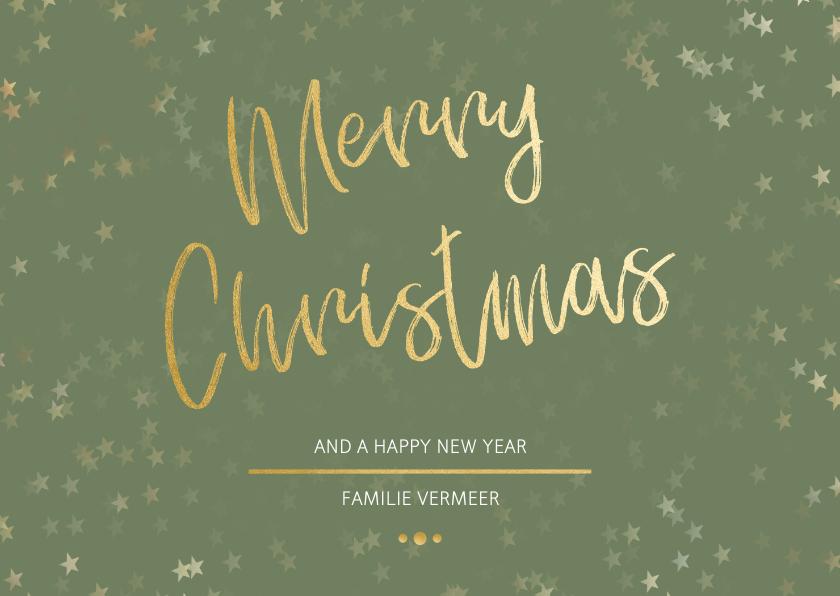 Kerstkaarten -  Kerstkaart Christmas groen en goud - Een gouden kerst