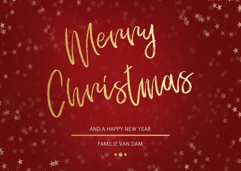 Kerstkaarten -  Kerstkaart Christmas rood en goud - Een gouden kerst