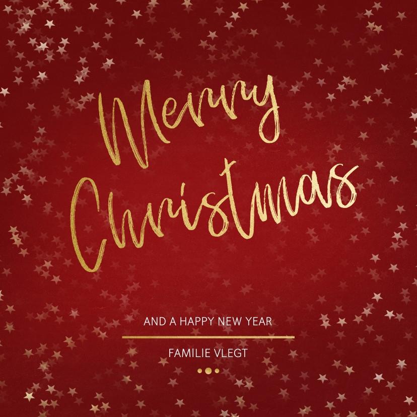 Kerstkaarten - Kerstkaart Christmas rood en goud