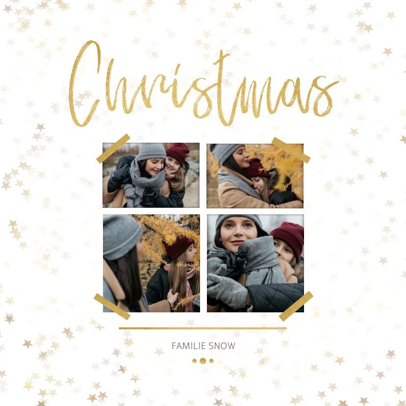 Kerstkaarten - Kerstkaart Christmas wit en goud 4 foto's - Een gouden kerst