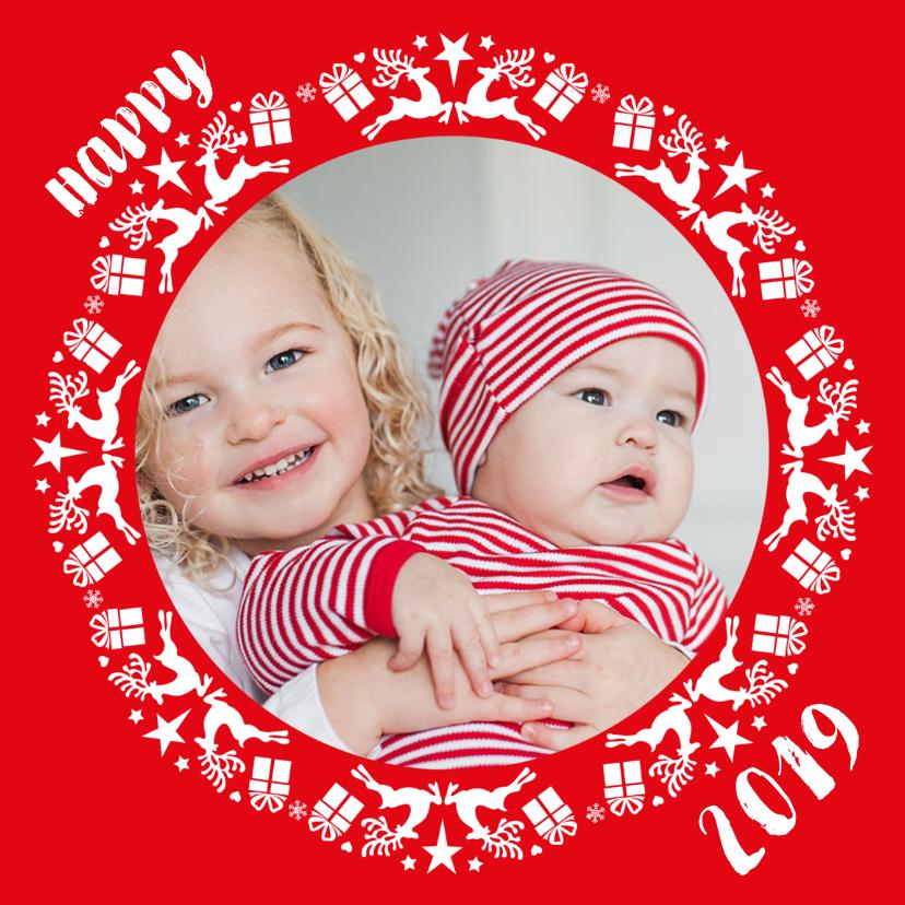 Kerstkaarten - Kerstkaart cirkel met foto