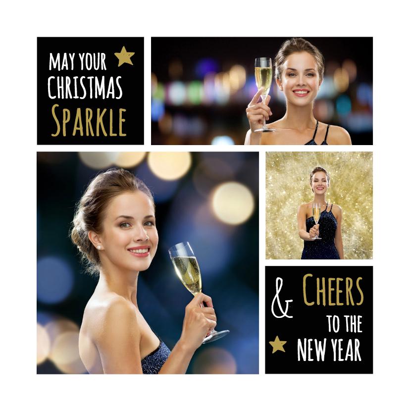 Kerstkaarten - Kerstkaart foto collage sparkle