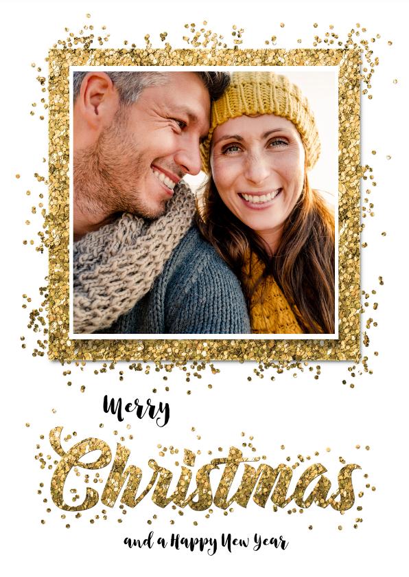 Kerstkaarten - Kerstkaart confetti Christmas en eigen foto