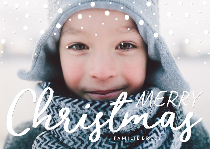 Kerstkaarten - Kerstkaart confetti 'Merry Christmas' met grote foto