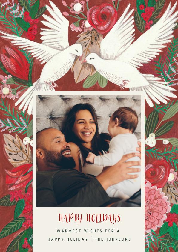Kerstkaarten - Kerstkaart cosy Christmas duiven