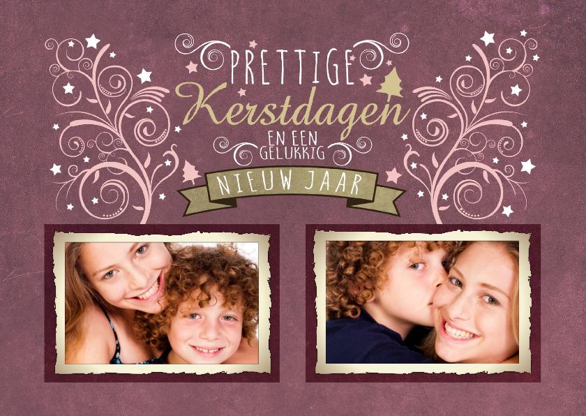 Kerstkaarten - Kerstkaart decoratief Roze 2 Foto's