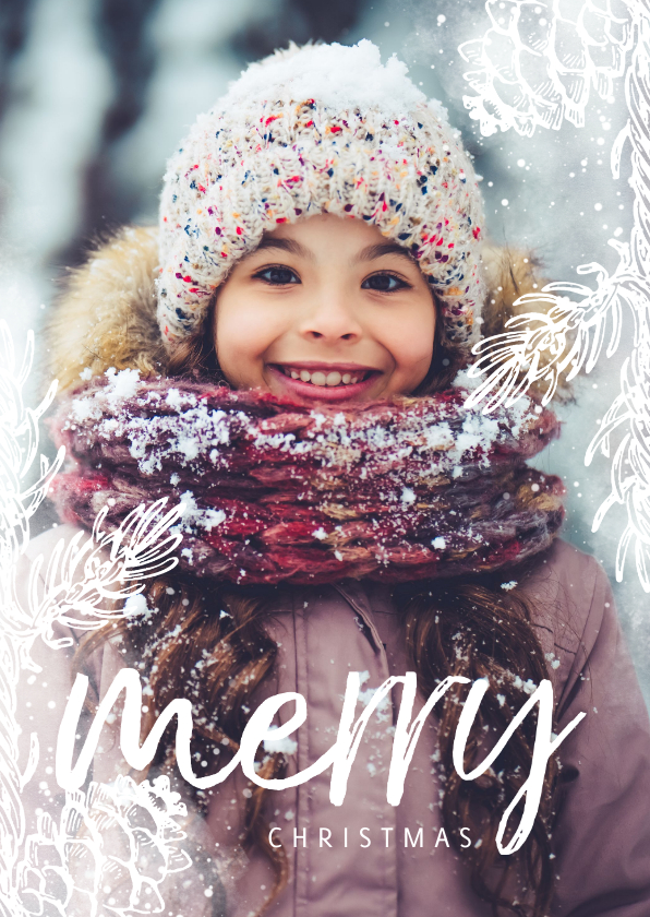 Kerstkaarten - Kerstkaart dennentakje wit met foto achtergrond